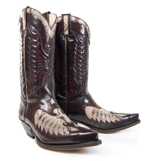 Sendra: Alcalas Western Wear Men's Fuscia/Python Leather Cowboy ...