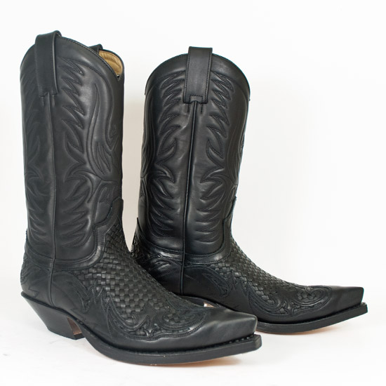 Sendra: Alcalas Western Wear Men's oiled black woven cowhide with ...