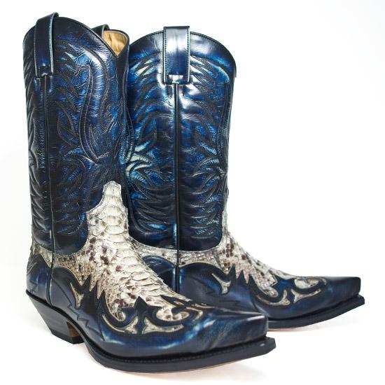 Sendra: Alcalas Western Wear Men&39s Navy Python Cowboy boot &ltbr