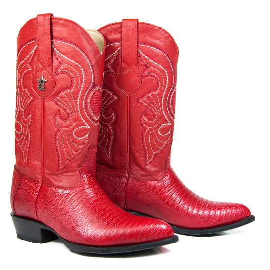 Los Altos: Alcalas Western Wear Men's Red Lizard Leather Cowboy ...