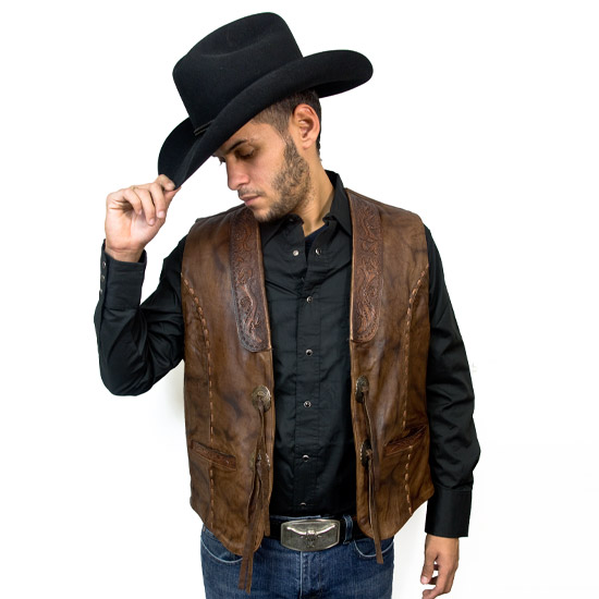 Kobler Alcalas Western Wear Acorn Leather Vest Antiqued