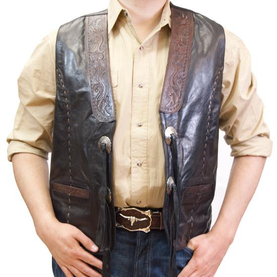 Kobler Alcalas Western Wear Black Leather Vest Antiqued