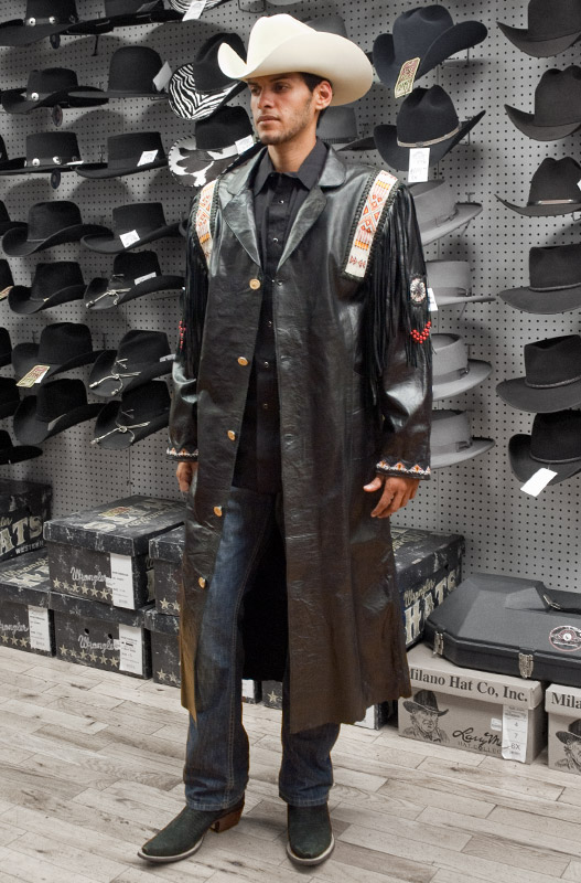 Kobler Alcalas Western Wear Black Fargo Leather Duster